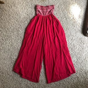 Free People Red Strapless Jumpsuit